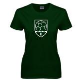 Ladies Dark Green T Shirt-Dartmouth Soccer Shield
