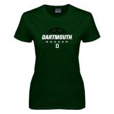 Ladies Dark Green T Shirt-Dartmouth Soccer Stacked