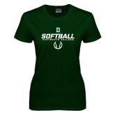 Ladies Dark Green T Shirt-Dartmouth Softball Stencil