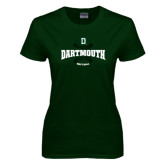 Ladies Dark Green T Shirt-Dartmouth Softball Seams