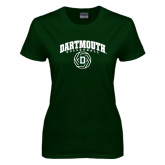 Ladies Dark Green T Shirt-Dartmouth Volleyball Abstract Ball