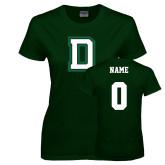 Ladies Dark Green T Shirt-Dartmouth D, Custom Tee w/ Name and #