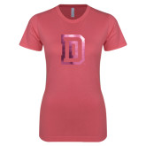 Next Level Ladies SoftStyle Junior Fitted Pink Tee-Dartmouth D Foil