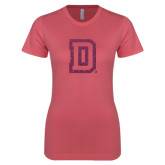 Next Level Ladies SoftStyle Junior Fitted Pink Tee-Dartmouth D Pink Glitter