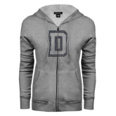 ENZA Ladies Grey Fleece Full Zip Hoodie-Dartmouth D Graphite Glitter