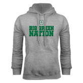 Grey Fleece Hood-Dartmouth Big Green Stacked Stripes