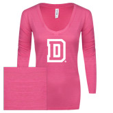 ENZA Ladies Hot Pink Long Sleeve V Neck Tee-Dartmouth D