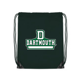 Nylon Dark Green Drawstring Backpack-D Dartmouth Stacked