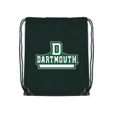Nylon Dark Green Drawstring Backpack-D Dartmouth Stacked