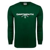 Dark Green Long Sleeve T Shirt-Dartmouth Football Flat