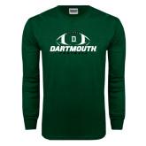 Dark Green Long Sleeve T Shirt-Dartmouth Football Stacked