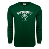 Dark Green Long Sleeve T Shirt-Dartmouth College Basketball Arched w/ Ball