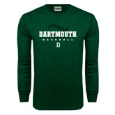 Dark Green Long Sleeve T Shirt-Dartmouth Baseball Stacked