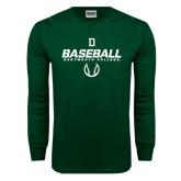 Dark Green Long Sleeve T Shirt-Dartmouth Baseball Stencil