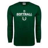 Dark Green Long Sleeve T Shirt-Dartmouth Softball Stencil