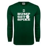 Dark Green Long Sleeve T Shirt-Volleyball Bump Set Spike
