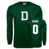 Dark Green Long Sleeve T Shirt-Dartmouth D, Custom Tee w/ Name and #