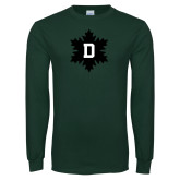 Dark Green Long Sleeve T Shirt-D Snowflake