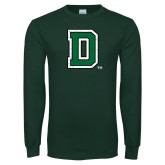 Dark Green Long Sleeve T Shirt-Primary Mark Distressed