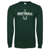 Dark Green Long Sleeve T Shirt-Softball
