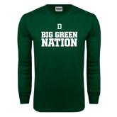 Dark Green Long Sleeve T Shirt-Dartmouth Big Green Stacked Stripes