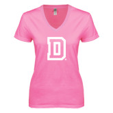 Next Level Ladies Junior Fit Deep V Pink Tee-Dartmouth D