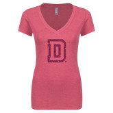 Next Level Ladies Vintage Pink Tri Blend V-Neck Tee-Dartmouth D Hot Pink Glitter