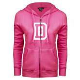 ENZA Ladies Fuchsia Fleece Full Zip Hoodie-Dartmouth D