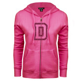 ENZA Ladies Fuchsia Fleece Full Zip Hoodie-Dartmouth D Hot Pink Glitter