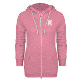 ENZA Ladies Hot Pink Marled Full Zip Hoodie-Dartmouth D