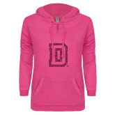 ENZA Ladies Hot Pink V-Notch Raw Edge Fleece Hoodie-Dartmouth D Hot Pink Glitter