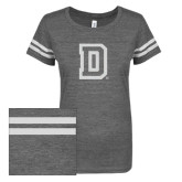 ENZA Ladies Dark Heather/White Vintage Triblend Football Tee-Dartmouth D White Soft Glitter