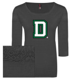 Ladies Charcoal Heather Tri Blend Lace 3/4 Sleeve Tee-Dartmouth D