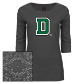 Ladies Charcoal Heather Lace 3/4 Sleeve Tee-Primary Mark