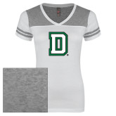 Ladies White/Heathered Nickel Juniors Varsity V Neck Tee-Dartmouth D