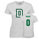 Ladies White T Shirt-Dartmouth D, Custom tee w/ Name and #