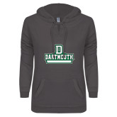 ENZA Ladies Dark Heather V-Notch Raw Edge Fleece Hoodie-D Dartmouth Stacked