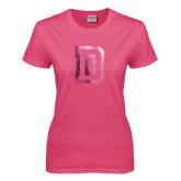 Ladies Fuchsia T Shirt-Dartmouth D Foil