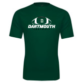 Performance Dark Green Tee-Dartmouth Football Stacked