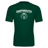 Performance Dark Green Tee-Dartmouth College Basketball Arched w/ Ball