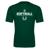 Performance Dark Green Tee-Dartmouth Softball Stencil