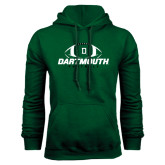 Dark Green Fleece Hood-Dartmouth Football Stacked