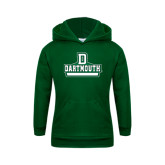 Youth Dark Green Fleece Hood-D Dartmouth Stacked