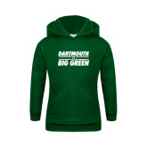 Youth Dark Green Fleece Hood-Dartmouth Big Green Stacked Stripes