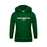 Youth Dark Green Fleece Hood-Dartmouth Football Flat