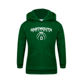 Youth Dark Green Fleece Hood-Dartmouth College Basketball Arched w/ Ball