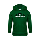 Youth Dark Green Fleece Hood-Dartmouth Basketball Half Ball
