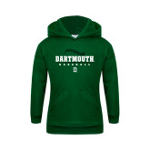 Youth Dark Green Fleece Hood-Dartmouth Baseball Stacked