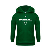 Youth Dark Green Fleece Hood-Dartmouth Baseball Stencil