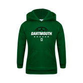 Youth Dark Green Fleece Hood-Dartmouth Soccer Stacked